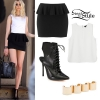 Taylor Momsen: Black Peplum Skirt, White Tank Top
