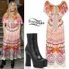 Ellie Goulding: Printed Dress, Platform Boots