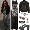 Jesy Nelson: Maxi Dress, Leather Jacket