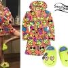 Miley Cyrus: Emoji Print Robe & Slippers