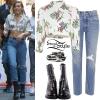 Miley Cyrus: Floral Crop Top, Blue Jeans