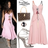 Rihanna: Pink Dress, Lace-Up Sandals