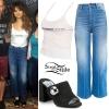 Selena Gomez: Cropped Denim Jacket, Green Pants