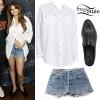 Selena Gomez: White Shirt, Denim Shorts