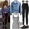 Selena Gomez: Grey Tank Top, Denim Jacket