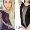 Allison Green: Black Mesh Deep V Bodysuit
