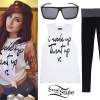 Allison Green: 'Turnt Up' Tee, Foldover Leggings