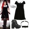 Ash Costello: Bat Velvet Collar Dress