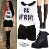 Ash Costello: 'Be Afraid' Top, Black Shorts