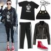 Cher Lloyd: Brooklyn Nets Tee, Adidas Capris