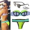 Demi Lovato: Neon Colorblock Bikini