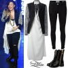 Demi Lovato: Leather Jacket, Skinny Pants
