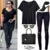 Demi Lovato: V-Neck Top, Ripped Jeans