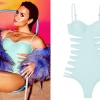 Demi Lovato: Cut-Out Mint Swimsuit