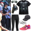 Demi Lovato: Darth Vader Tee, Black Capris