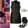 Demi Lovato: Peplum Leather Jacket, Crystal Sandals