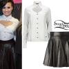 Demi Lovato: Heart Cutout Shirt, Leather Skirt