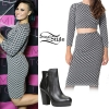 Demi Lovato: Jacquard Top & Skirt, Black Booties