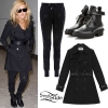 Ellie Goulding: Leather-Trim Trench Coat