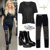 Ellie Goulding: Zipper-Front Jeans, Shiny Boots