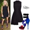 Ellie Goulding: Black Asymmetric Dress