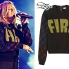 Ellie Goulding: 'FIRE' Plaid Sleeve Sweater