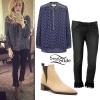 Ellie Goulding: Fringe Jeans, Tan Booties