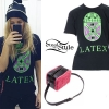 Ellie Goulding: 'Latex' T-Shirt, Furry Bag