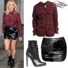 Ellie Goulding: Plaid Shirt, Leather Skirt