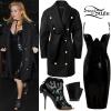 Ellie Goulding: Black Vinyl Dress, Wool Coat