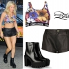 Ellie Goulding: Crop Top, Flannel Kilt