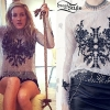 Ellie Goulding: Embroidered Gray Lace Top