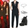 Jesy Nelson: Tuxedo Jumpsuit, Lace-Up Boots