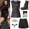 Jesy Nelson: Skull Top, Black Skirt