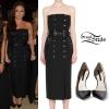 Jesy Nelson: Belted Dress, Black Pumps