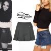 Jesy Nelson: Cutout Top, Buckle Skirt