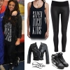 Jesy Nelson: Super Rich Kids Tank, Leather Pants