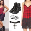 Jesy Nelson: Plaid Slip Dress, Black Boots