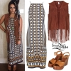 Jesy Nelson: Printed Dress, Suede Fringe Vest