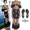 Katy Perry: Floral Mesh Crop Top & Skirt
