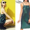 Lil Debbie: Green Metallic Slip Dress