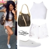 Melissa Marie Green: White Outfit, MK Logo Bag