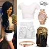Melissa Marie Green: White Crop Tee & Skirt