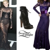 Miley Cyrus: Lace Gown, Cutout Booties