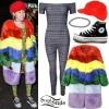 Miley Cyrus: Printed Catsuit, Rainbow Coat