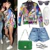 Miley Cyrus: Printed Leather Jacket, Denim Shorts