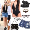 Miley Cyrus: Black Swimsuit, Ripped Shorts