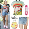 Miley Cyrus: Rainbow T-Shirt, Denim Shorts