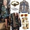 Miley Cyrus: Sequin Camo Dress & Denim Jacket