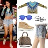 Rihanna: Printed Top, Grommet Shorts